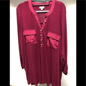 Avenue red raspberry colored shirt